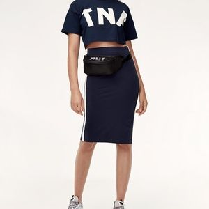 TNA Aritzia Blue Clearwater Skirt With stripes M